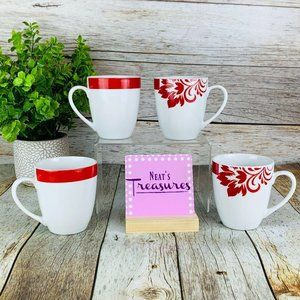 Ten 10 Strawberry Red Floral Coffee Cups Set of 4
